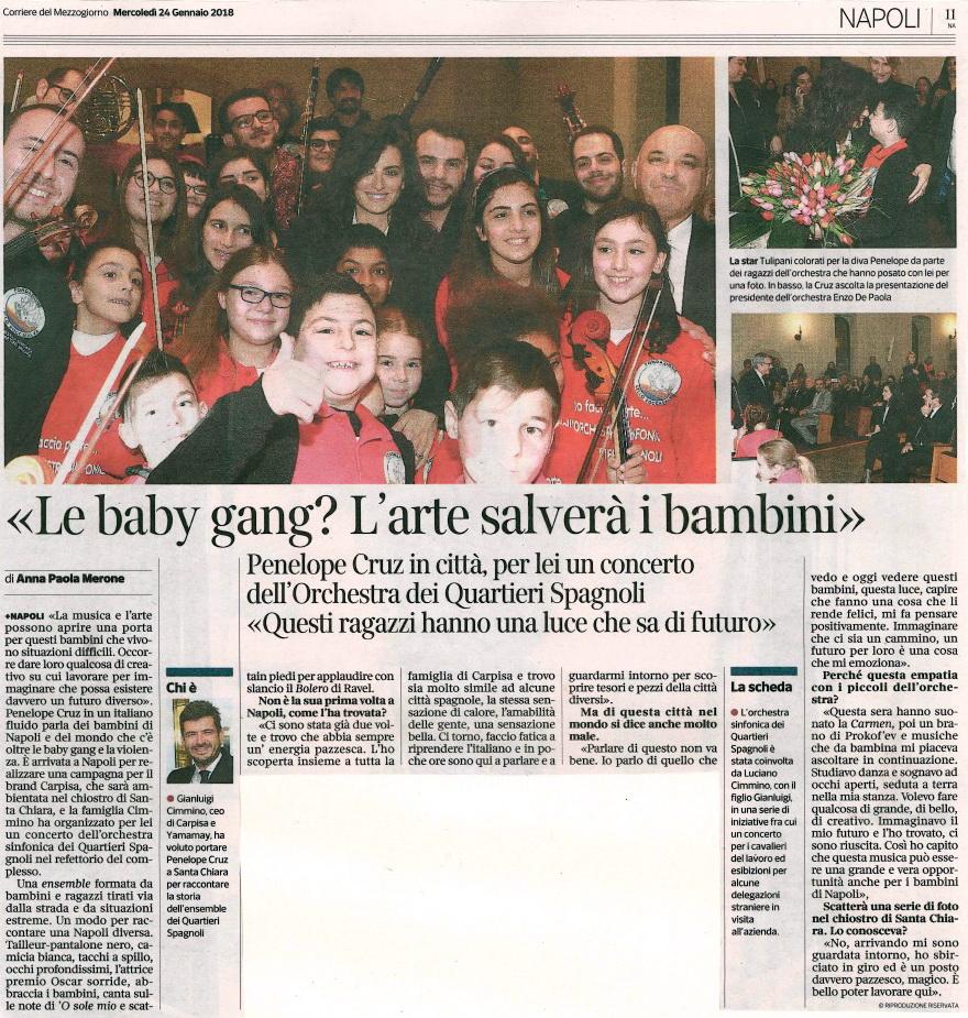 OSQS 2018.01.24 Penelope Cruz articolo sul Corriere del Mezzogiorno